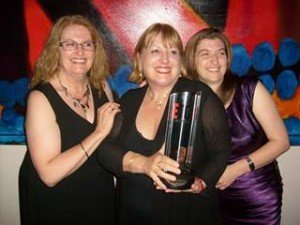 With Hazel and Kd Grace, and the Xcite Best Erotic Books Brand award