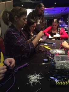 Making a flogger with Street Team members, Steph and Pamela