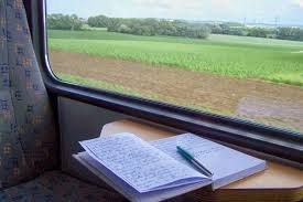 writing on train